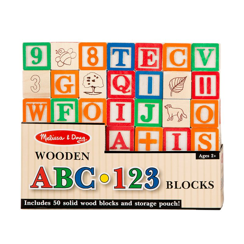Melissa and Doug Wooden ABC 123 Blocks