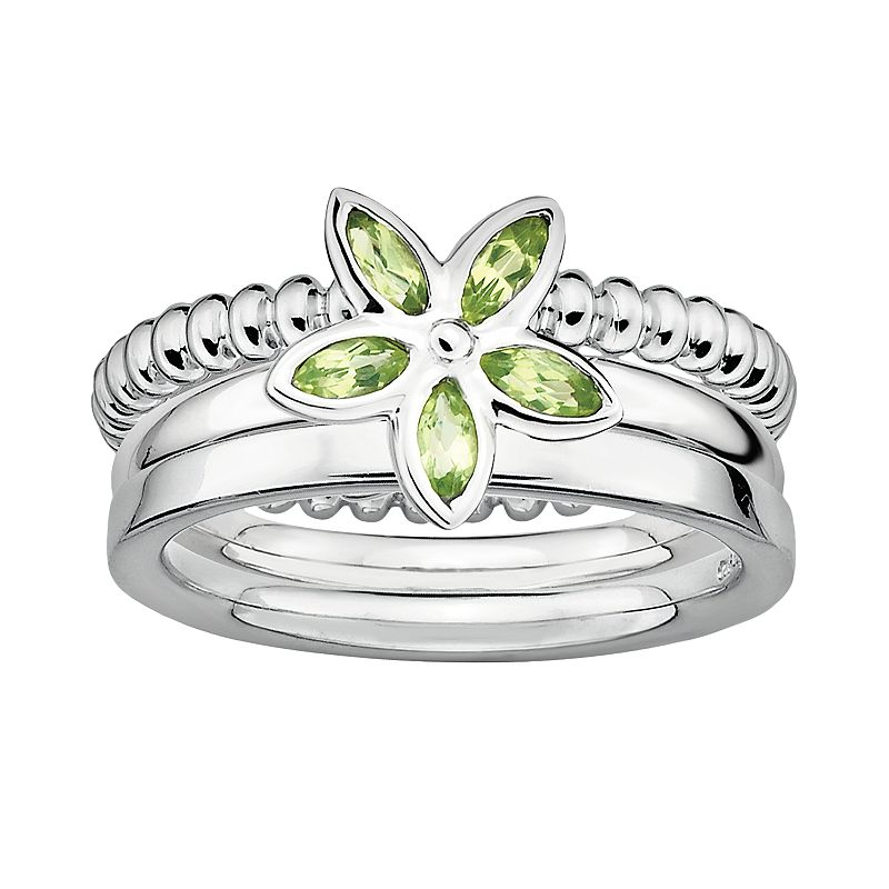 Stacks and Stones Sterling Silver Peridot Flower Stack Ring Set