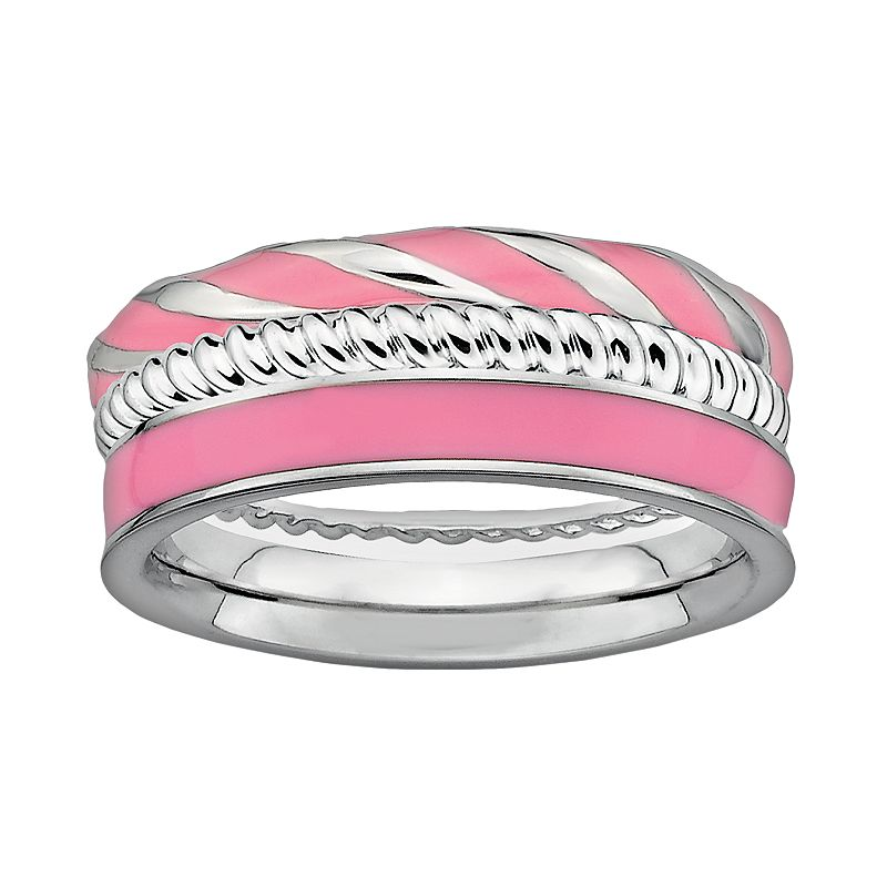 Stacks and Stones Sterling Silver and Pink Enamel Twist Stack Ring Set