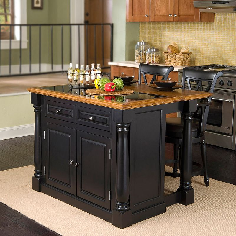 Monarch 3-pc. Kitchen Island with Granite Top and Counter Stools Set, Black/Brown (Black/Oak)
