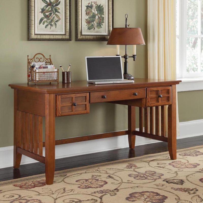 Arts And Crafts Executive Desk, Brown thumbnail