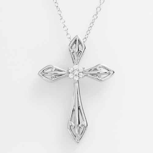 Sterling Silver Diamond Accent Cross Pendant
