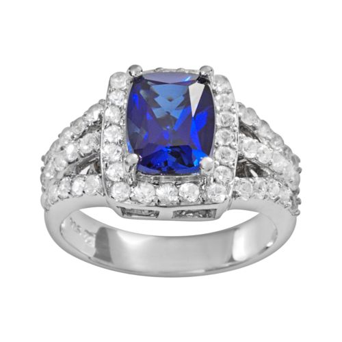 Sterling Silver Lab-Created White and Blue Sapphire Ring