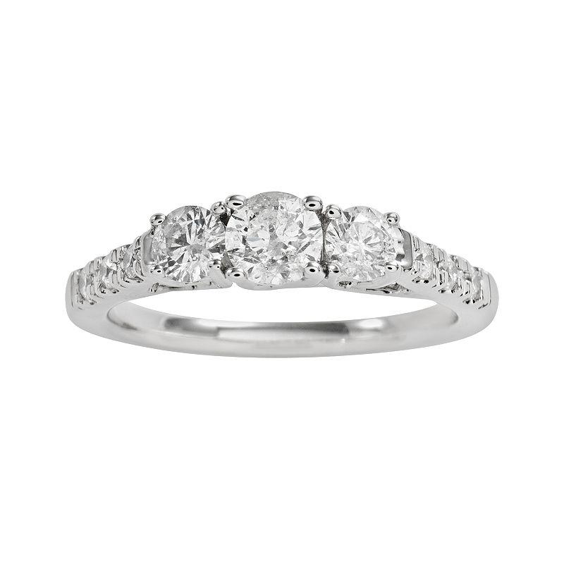 Round-Cut IGI Certified Diamond 3-Stone Engagement Ring in 14k White Gold (1 ct. T.W.)