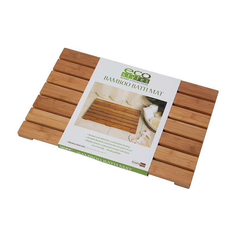 Creative Bath Bamboo Bath Mat, White