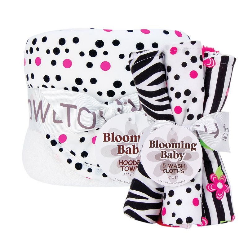 Trend Lab Zahara Hooded Towel and Washcloth Bouquet Set