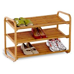 Honey-Can-Do Bamboo 3-Tier Deluxe Shoe Rack by