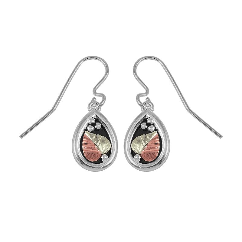 Black Hills Gold Tri-Tone Leaf Teardrop Earrings in Sterling Silver