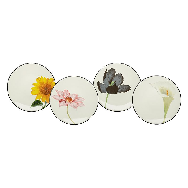 Noritake Colorwave Graphite 4-pc. Floral Appetizer Plate Set