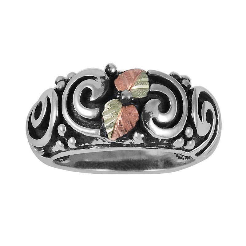 Black Hills Gold Tri-Tone Leaf Swirl Ring in Sterling Silver