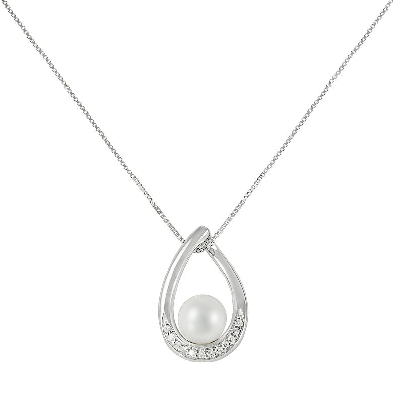 Sterling Silver Freshwater Cultured Pearl and Diamond Accent Teardrop Pendant