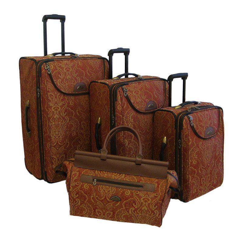American Flyer Luggage, 4-pc. Paisley Luggage Set, Yellow