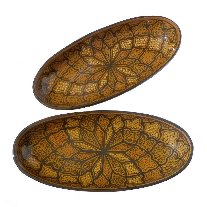Le Souk Ceramique Honey 2-pc. Large Oval Platter Set