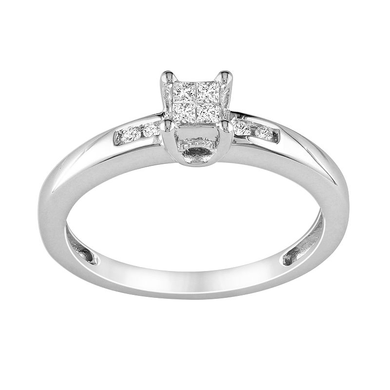 Princess-Cut Diamond Engagement Ring in Sterling Silver (1/8 ct. T.W.)