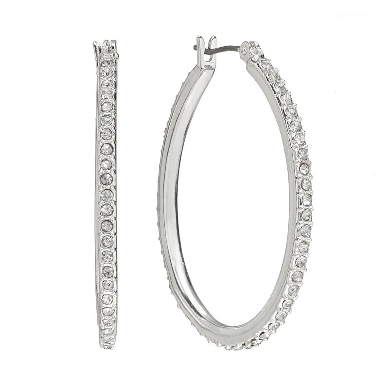 Chaps Silver Tone Simulated Crystal Oval Hoop Earrings