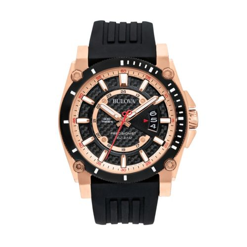 Bulova Precisionist Stainless Steel Rose Gold Tone and Black Ion Watch - 98B152 - Men