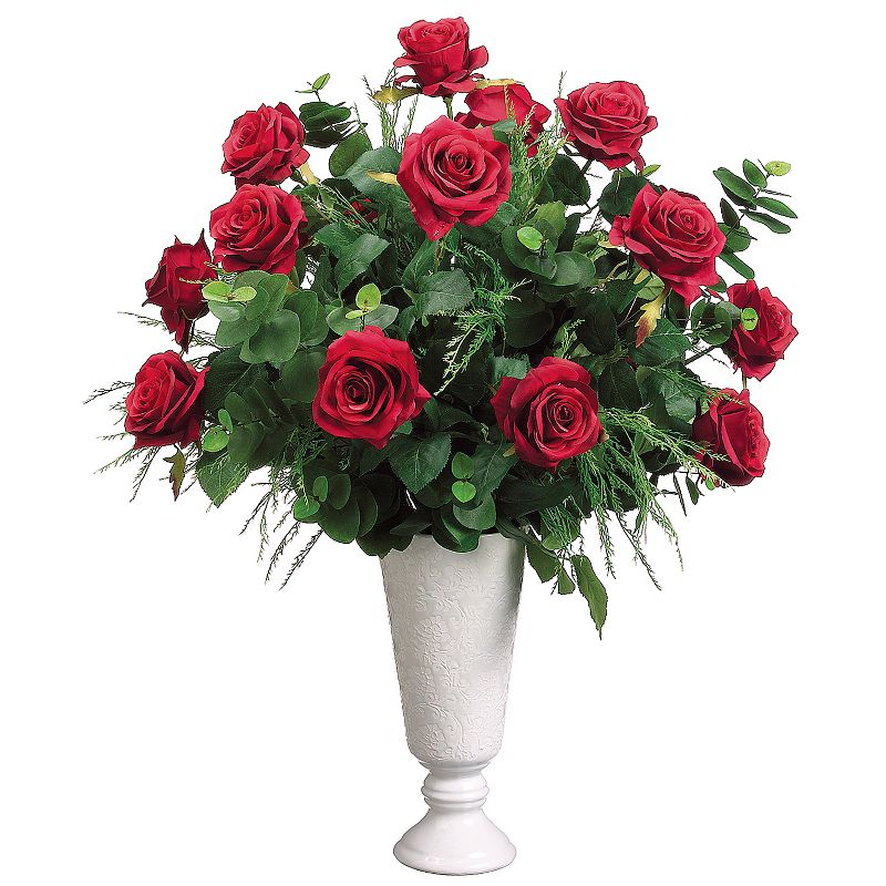 28-in. Artificial Rose, Fern And Eucalyptus Floral Arrangement