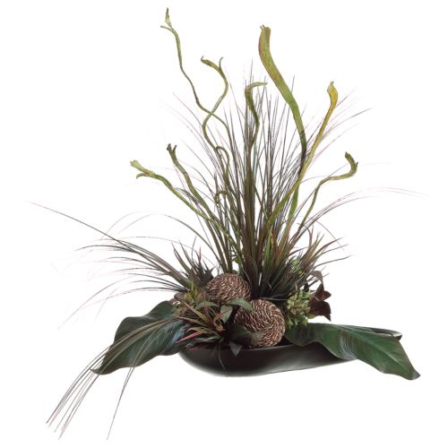 29-in. Artificial Canna, Staghorn And Grass Floral Arrangement