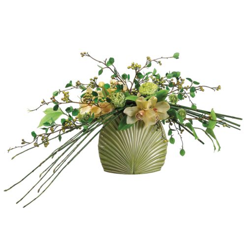14-in. Artificial Cymbidium, Ranunculus And Bamboo Floral Arrangement
