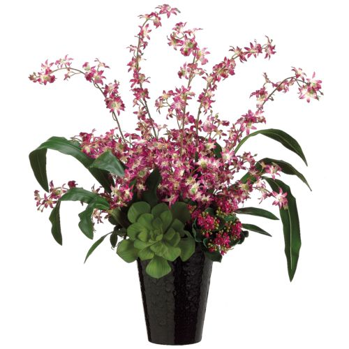 32-in. Artificial Orchid And Grass Floral Arrangement