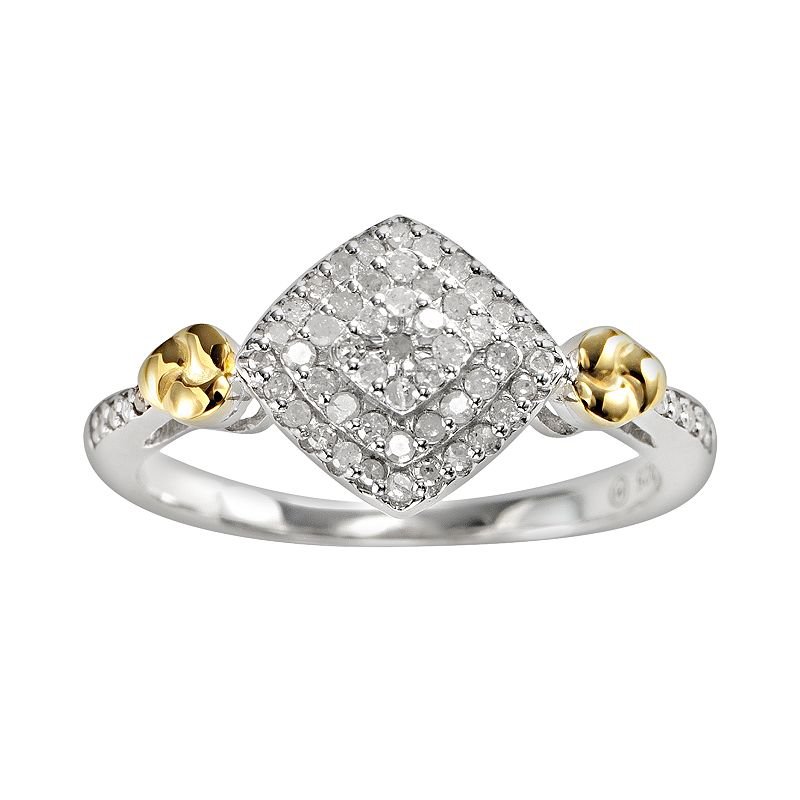 14k Gold Over Silver and Sterling Silver 1/4-ct. T.W. Diamond Cluster Ring