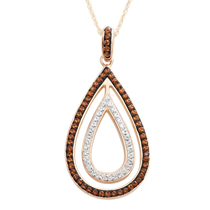 Sterling 'N' Ice 14k Rose Gold Over Silver Crystal Teardrop Pendant - Made with Swarovski Crystals
