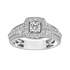 Round-Cut IGL Certified Diamond Frame Engagement Ring in 14k White Gold (1 ct. T.W) by