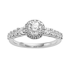 Round-Cut IGL Certified Diamond Frame Engagement Ring in 14k White Gold (1 ct. T.W.) by