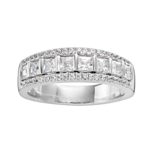 14k White Gold 1-ct. T.W. IGL Certified Princess-Cut Diamond Multirow Wedding Ring