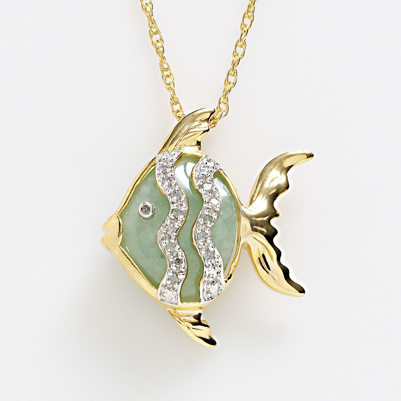 18k Gold Over Silver Jade and Diamond Accent Fish Pendant