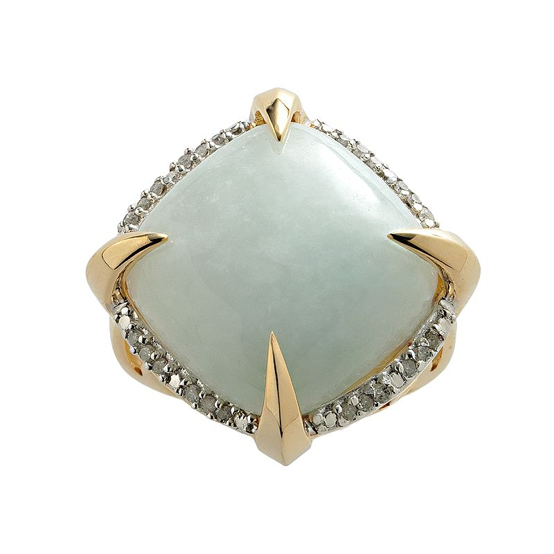 18k Gold Over Silver .17-ct. T.W. Diamond and Jade Square Ring
