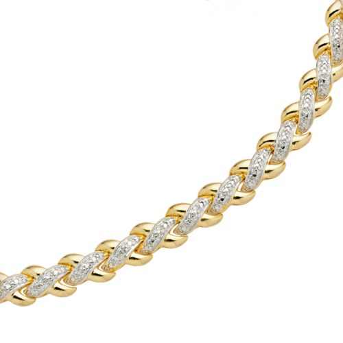 18k Gold Plated Diamond Accent X Link Bracelet