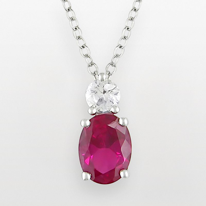 Sterling Silver Lab-Created Ruby and Lab-Created White Sapphire Pendant