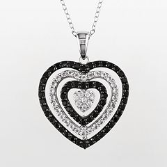 Sterling Silver Black Spinel, White Topaz & Diamond Accent Heart Pendant by