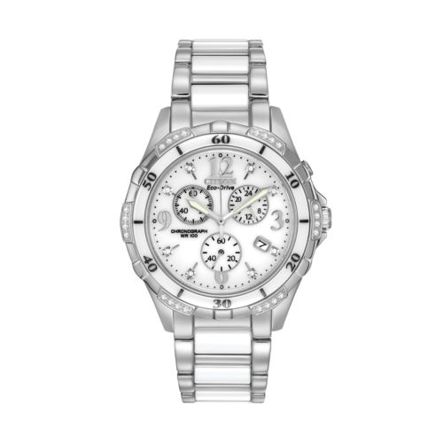 Citizen Eco-Drive Stainless Steel and White Ceramic Diamond Accent Chronograph Watch - FB1230-50A - Women