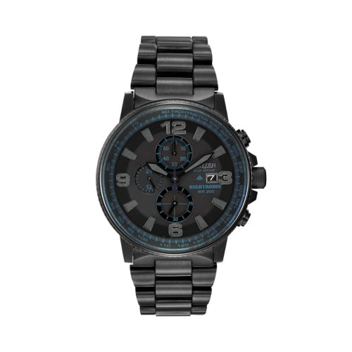 Citizen Eco-Drive Nighthawk Stainless Steel Black Ion Chronograph Watch - CA0295-58E - Men