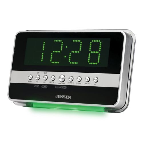 Jensen Dual Digital Alarm Clock Radio with Wave Sensor