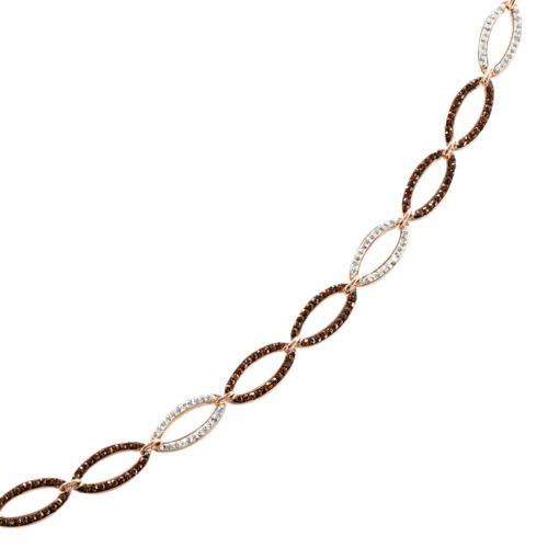 Sterling 'N' Ice 14k Rose Gold Over Silver Crystal Oval Link Bracelet - Made with Swarovski Elements