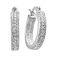 Sterling 'N' Ice Sterling Silver Crystal Hoop Earrings - Made with Swarovski Crystals