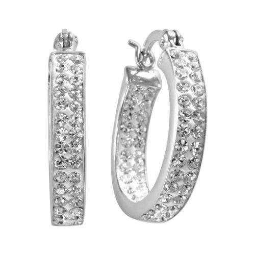 Sterling 'N' Ice Sterling Silver Crystal Hoop Earrings - Made with Swarovski Elements