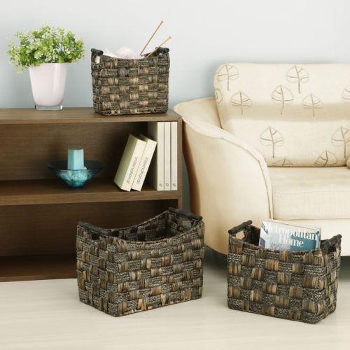 Neu Home 3-pc. Water Hyacinth and Maize Braided Basket Set