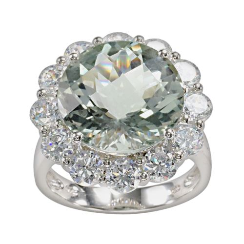 Sterling Silver Green Quartz and Cubic Zirconia Frame Ring
