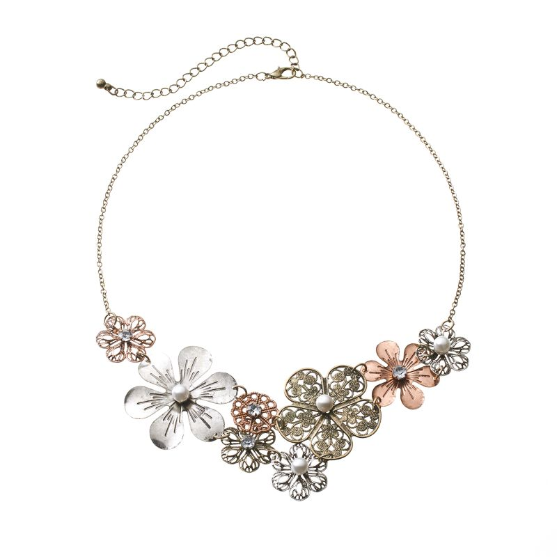 Mudd Four Tone Simulated Crystal And Simulated Pearl Filigree Flower