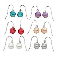 Freshwater by HONORA Sterling Silver Dyed Freshwater Cultured Pearl Drop Earring Set