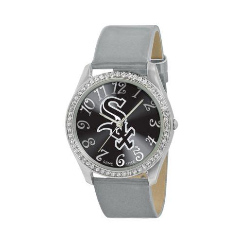 Game Time Glitz Chicago White Sox Silver Tone Crystal Watch - MLB-GLI-CWS - Women
