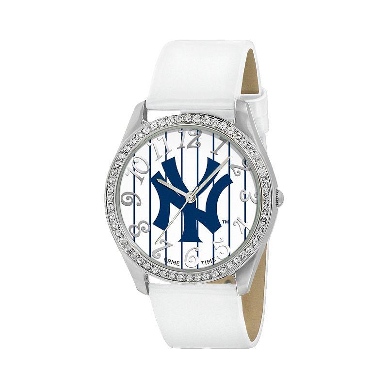 Game Time Glitz New York Yankees Silver Tone Crystal Watch - MLB-GLI-NY3 - Women