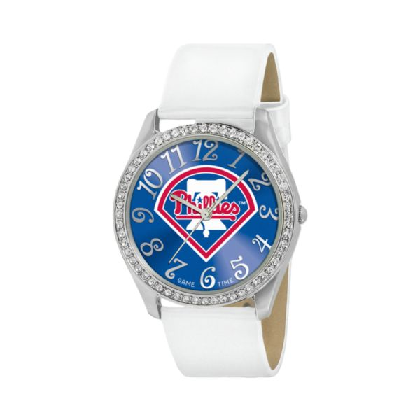 Game Time Glitz Philadelphia Phillies Silver Tone Crystal Watch - MLB-GLI-PHI - Women