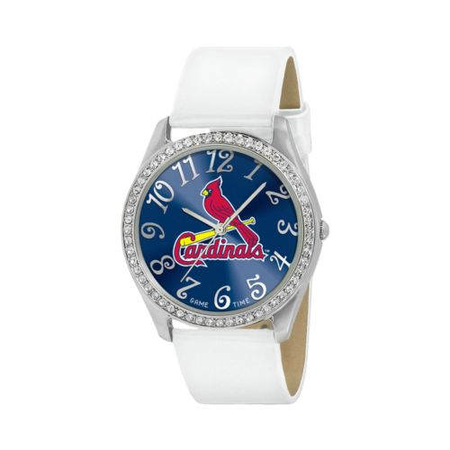 Game Time Glitz St. Louis Cardinals Silver Tone Crystal Watch - MLB-GLI-STL - Women