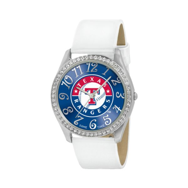 Game Time Glitz Texas Rangers Silver Tone Crystal Watch - MLB-GLI-TEX - Women