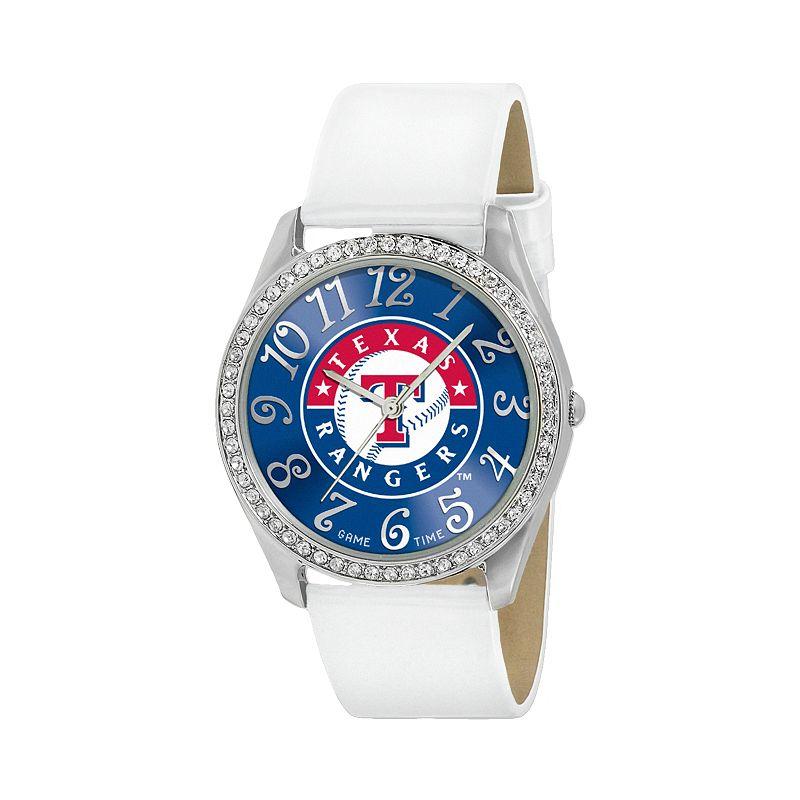 Game Time Glitz Texas Rangers Silver Tone Crystal Watch - MLB-GLI-TEX - Women
